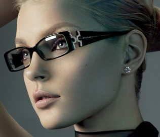 glasses contacts model wearing designer frames